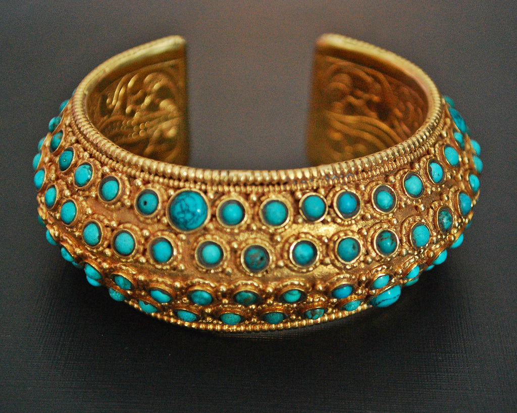 Gilded Nepali Cuff Bracelet with Turquoises