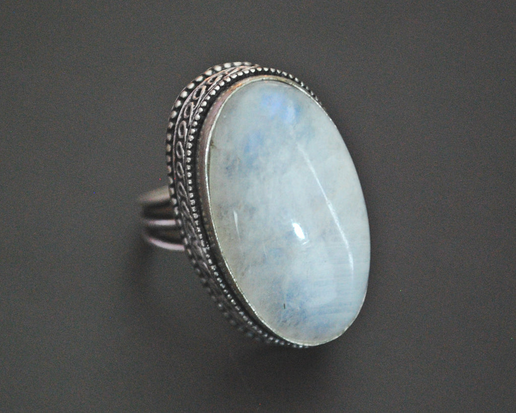 Rainbow Moonstone Ring from India - Size 6.5