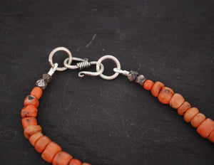 Old Coral Silver Beads Necklace from India