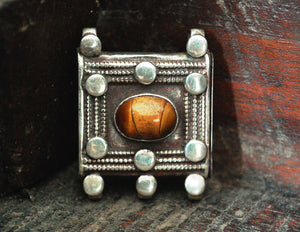 Indian Openable Silver Box Container with Tiger Eye