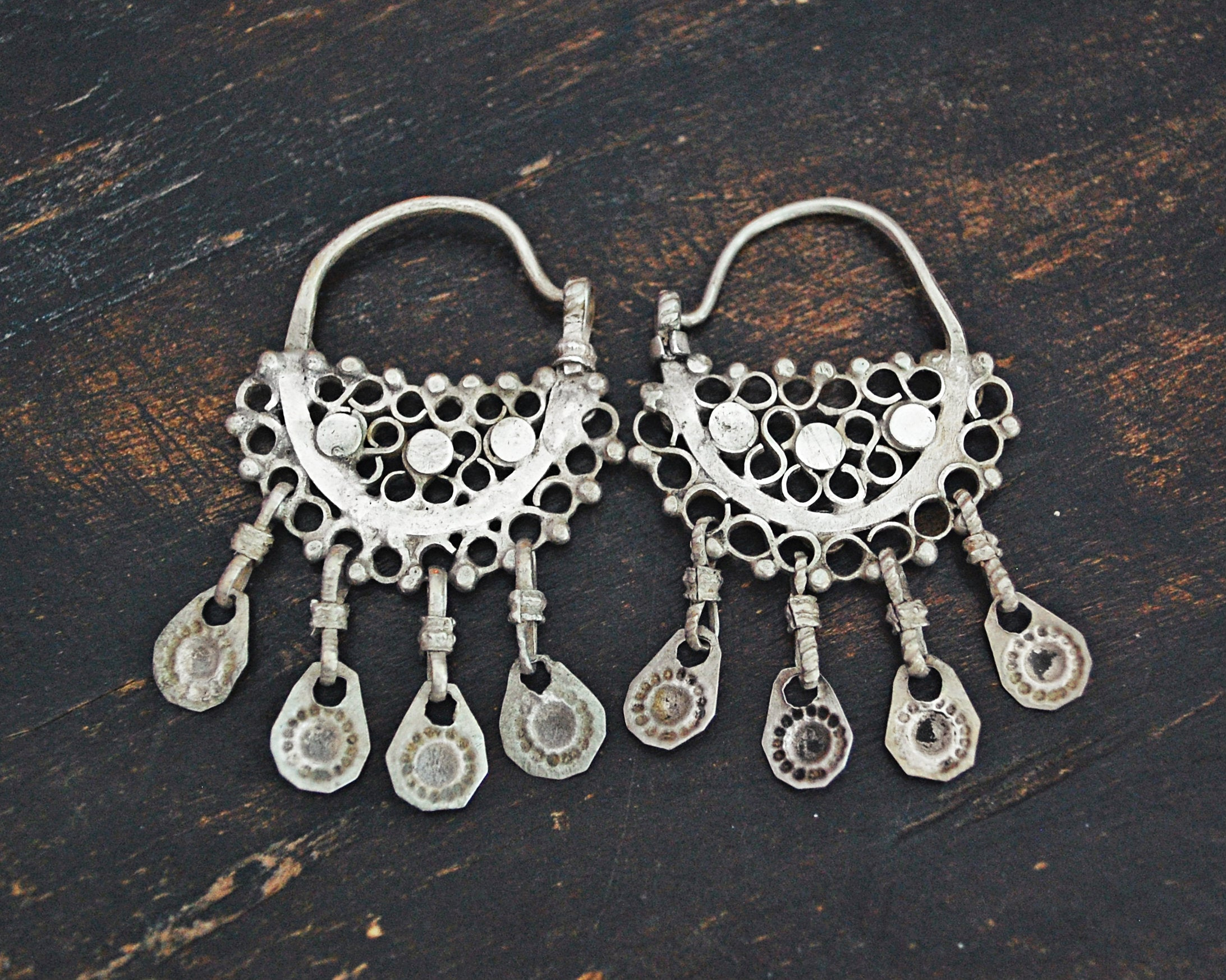 Antique Afghani Hoop Earrings with Tassels