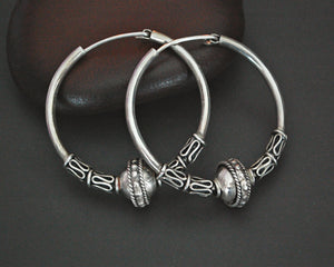 Large Bali Hoop Earrings with Bead and Wirework