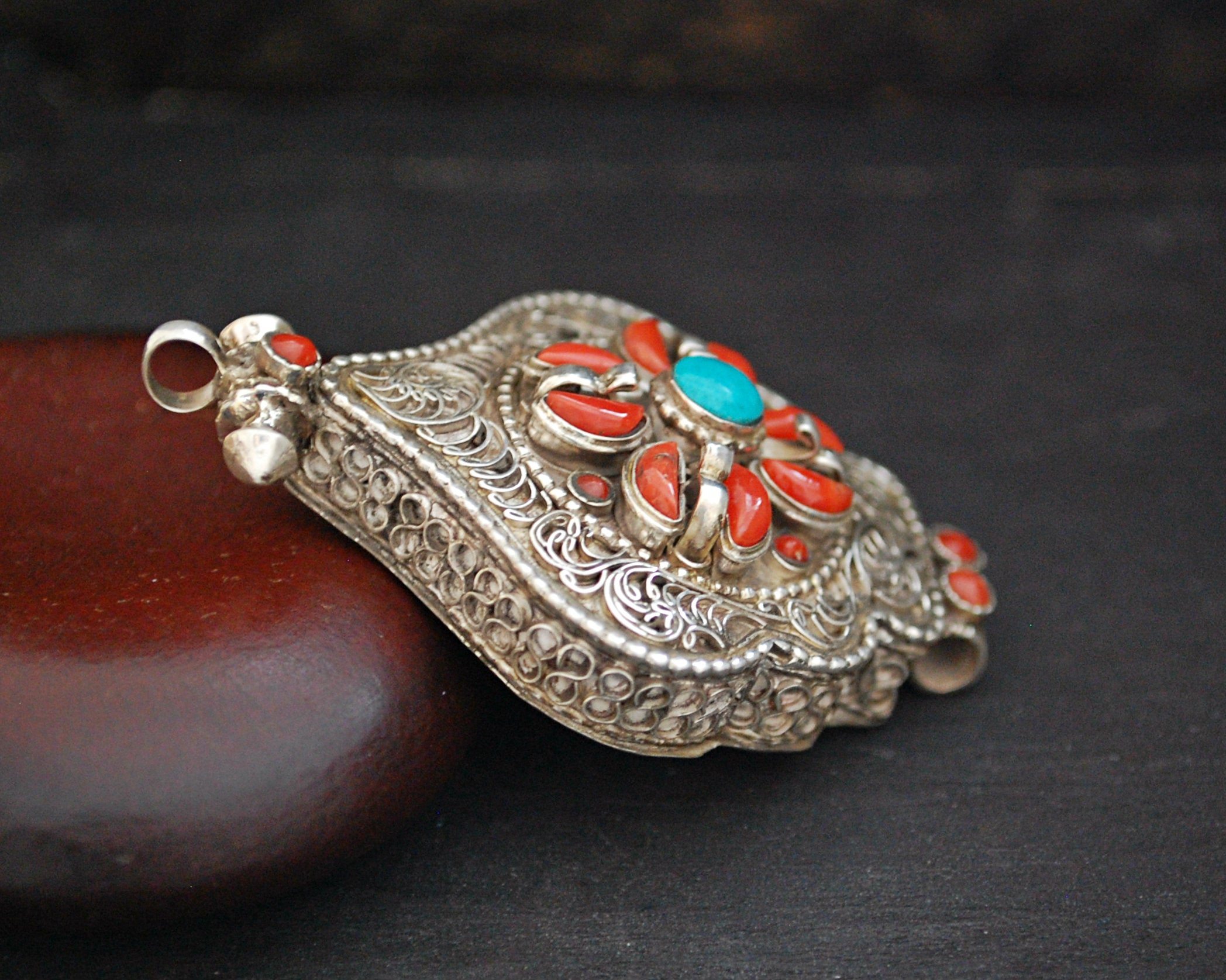 Nepali Gau Prayer Box Pendant with Coral and Turquoise