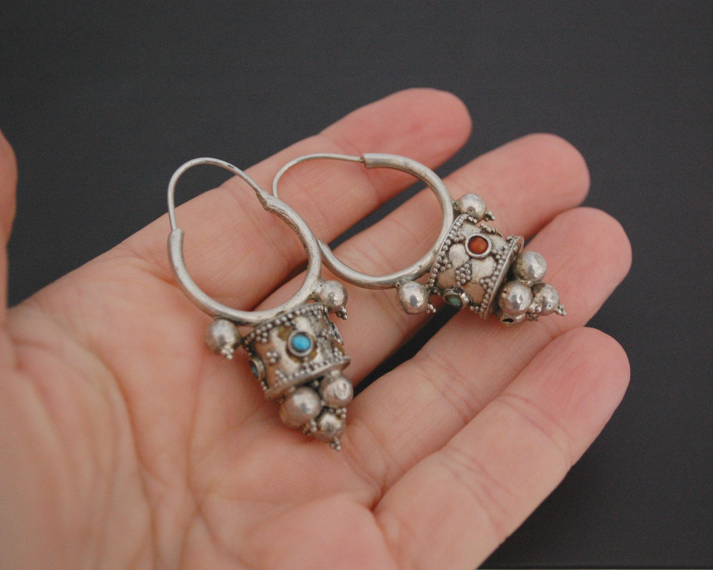 Uzbek Coral Turquoise Earrings