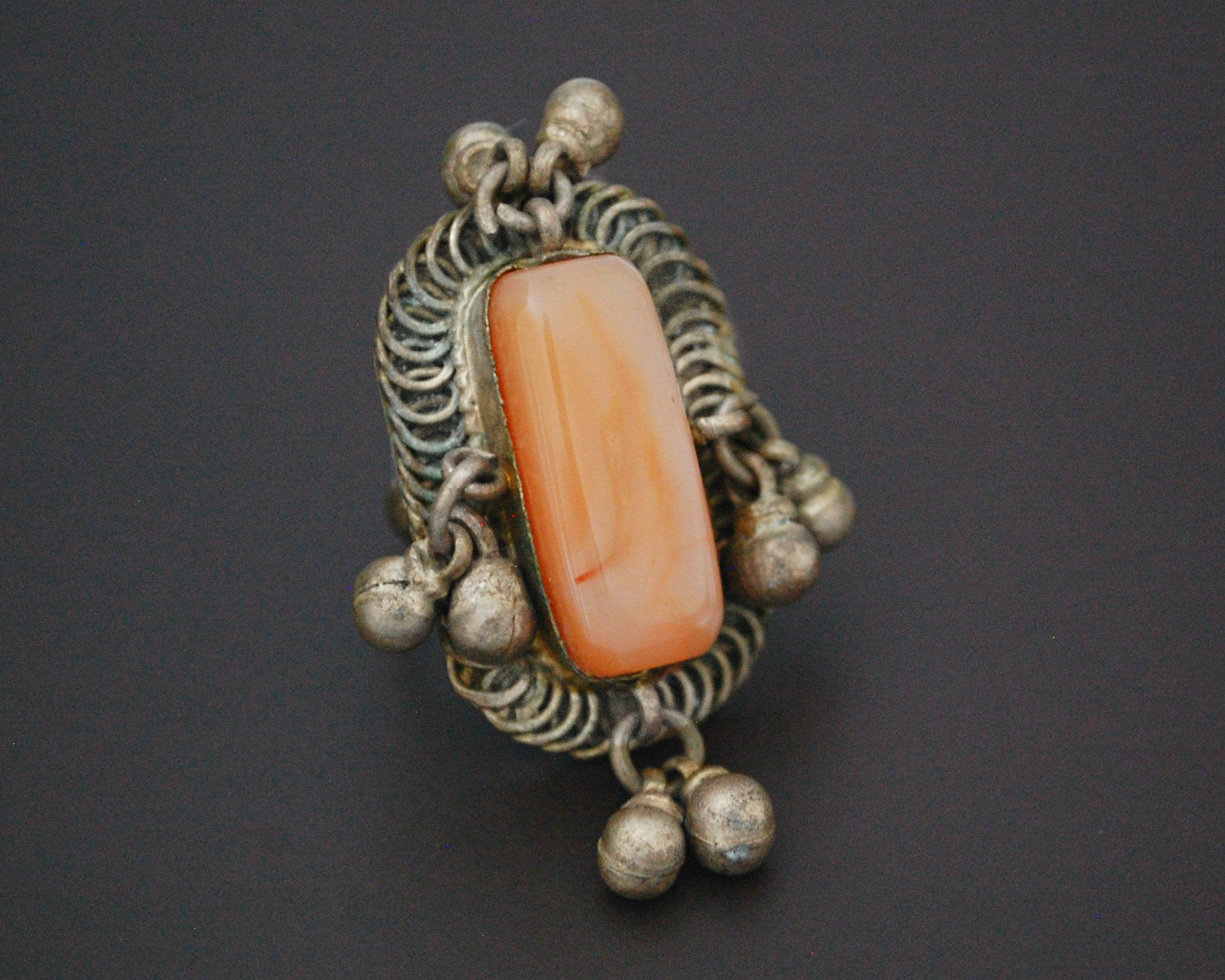 Old Bedouin Agate Ring with Bells - Size 7