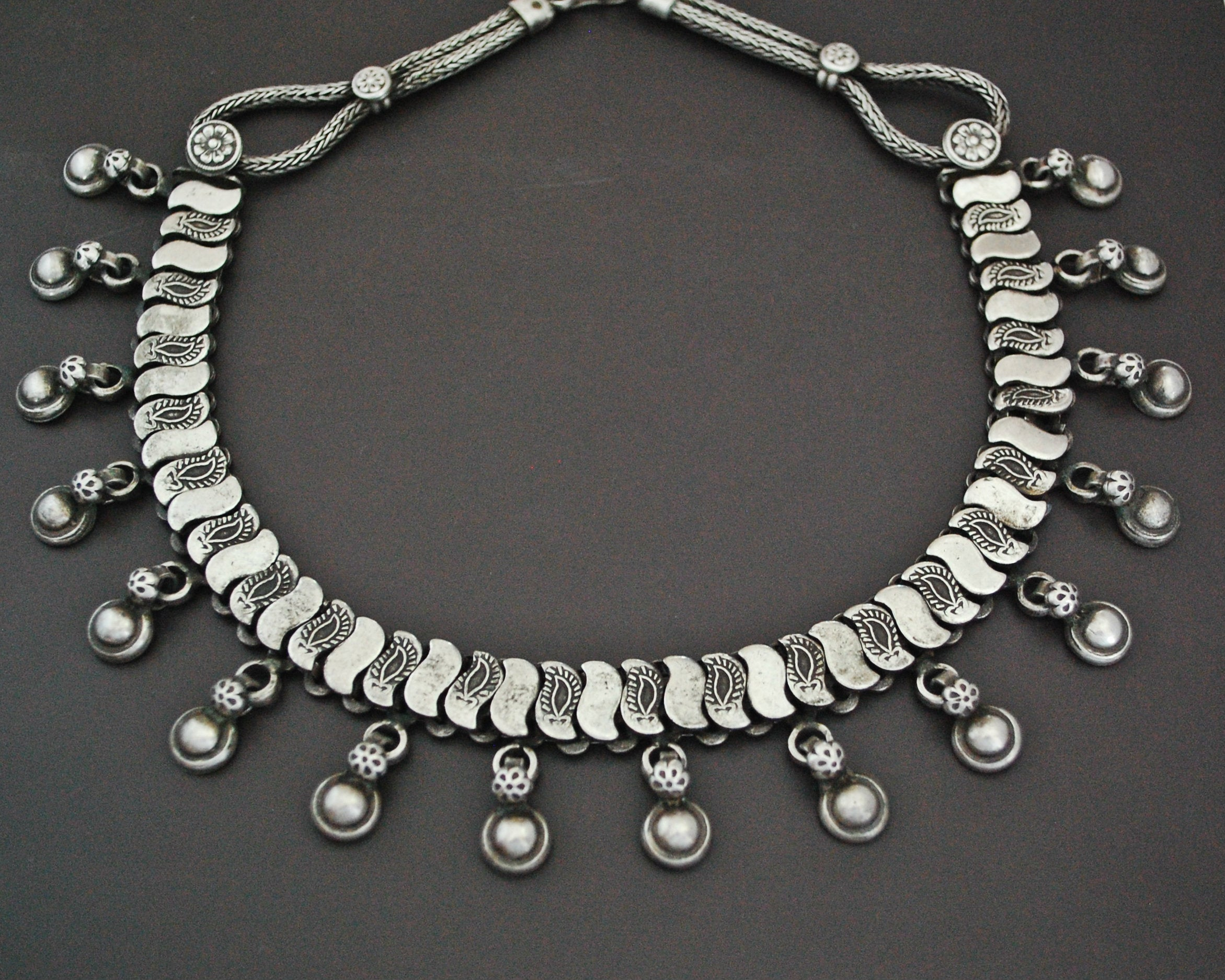 Indian Silver Choker Necklace with Charm Drops