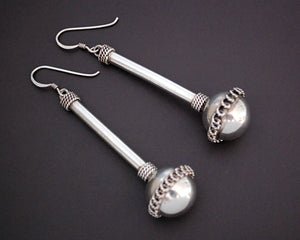 Long Ethnic Silver Ball Earrings with Wire Work