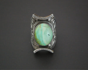Gorgeous Nepali Turquoise Saddle Ring - Size 10