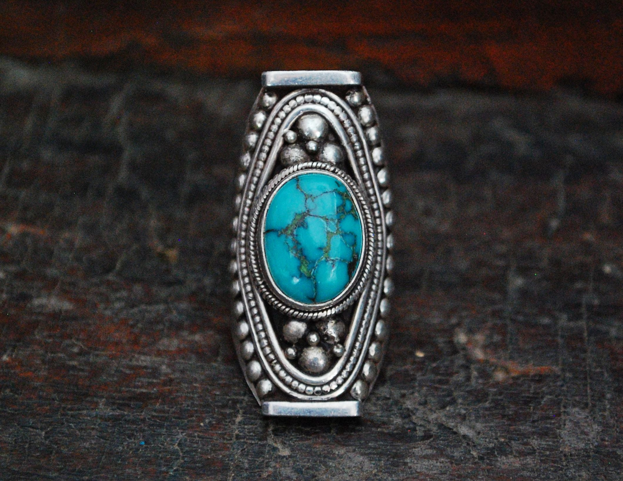 Huge Nepali Turquoise Saddle Ring - Adjustable Size 8+