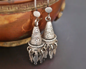 Rajasthani Silver Carved Earrings with Dangles