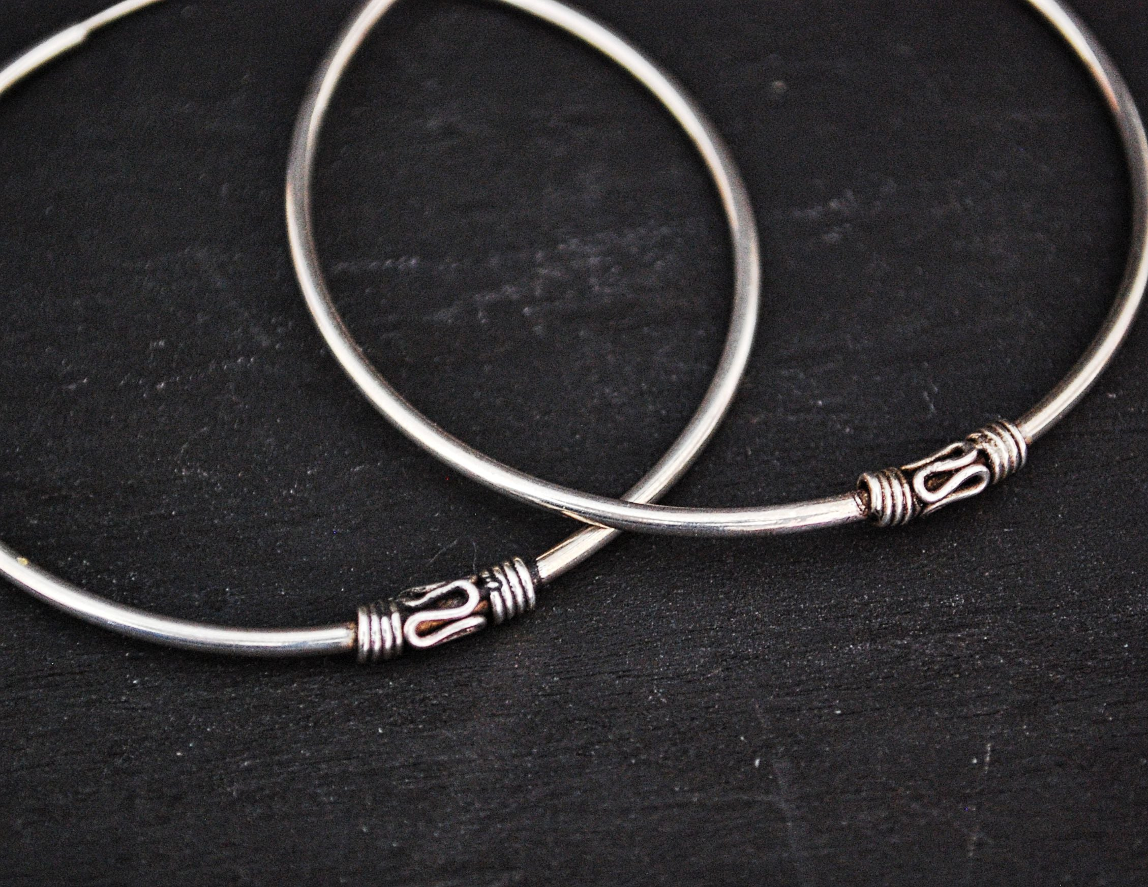 Large Ethnic Bali Hoop Earrings