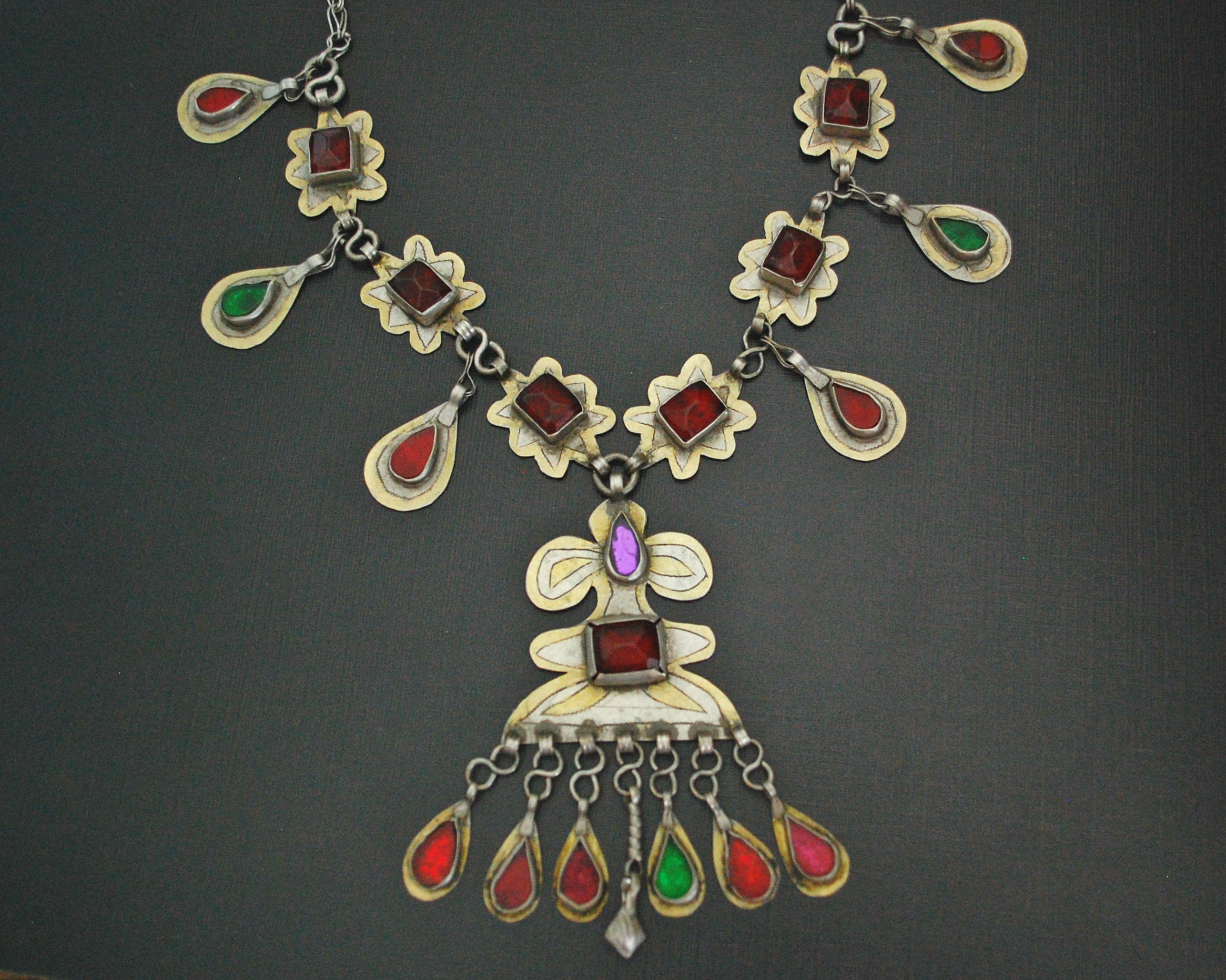 Turkmen Gilded Necklace with Glass Stones