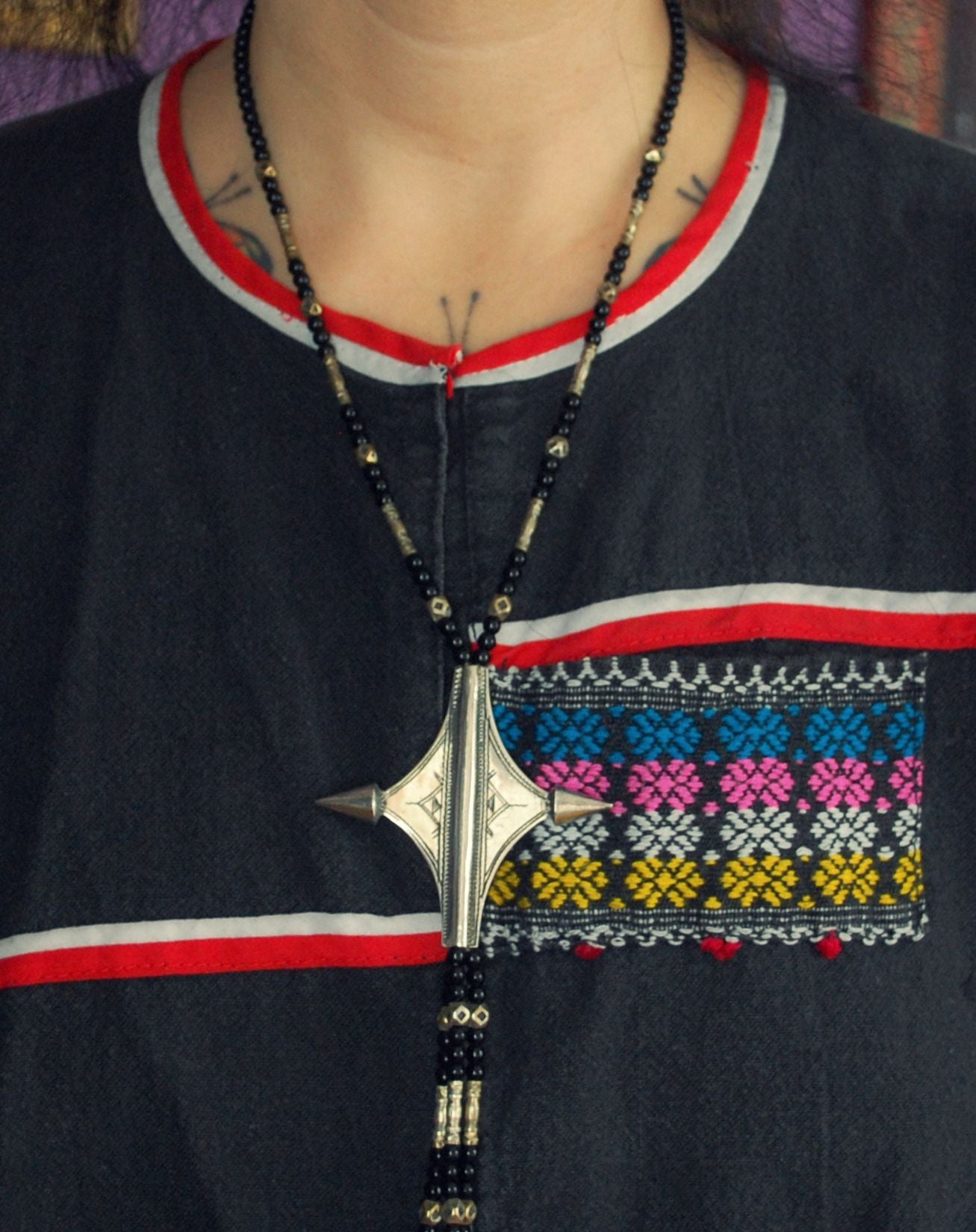 "Tuareg ""Egourou"" Cross Necklace with Glass and Silver Beads"