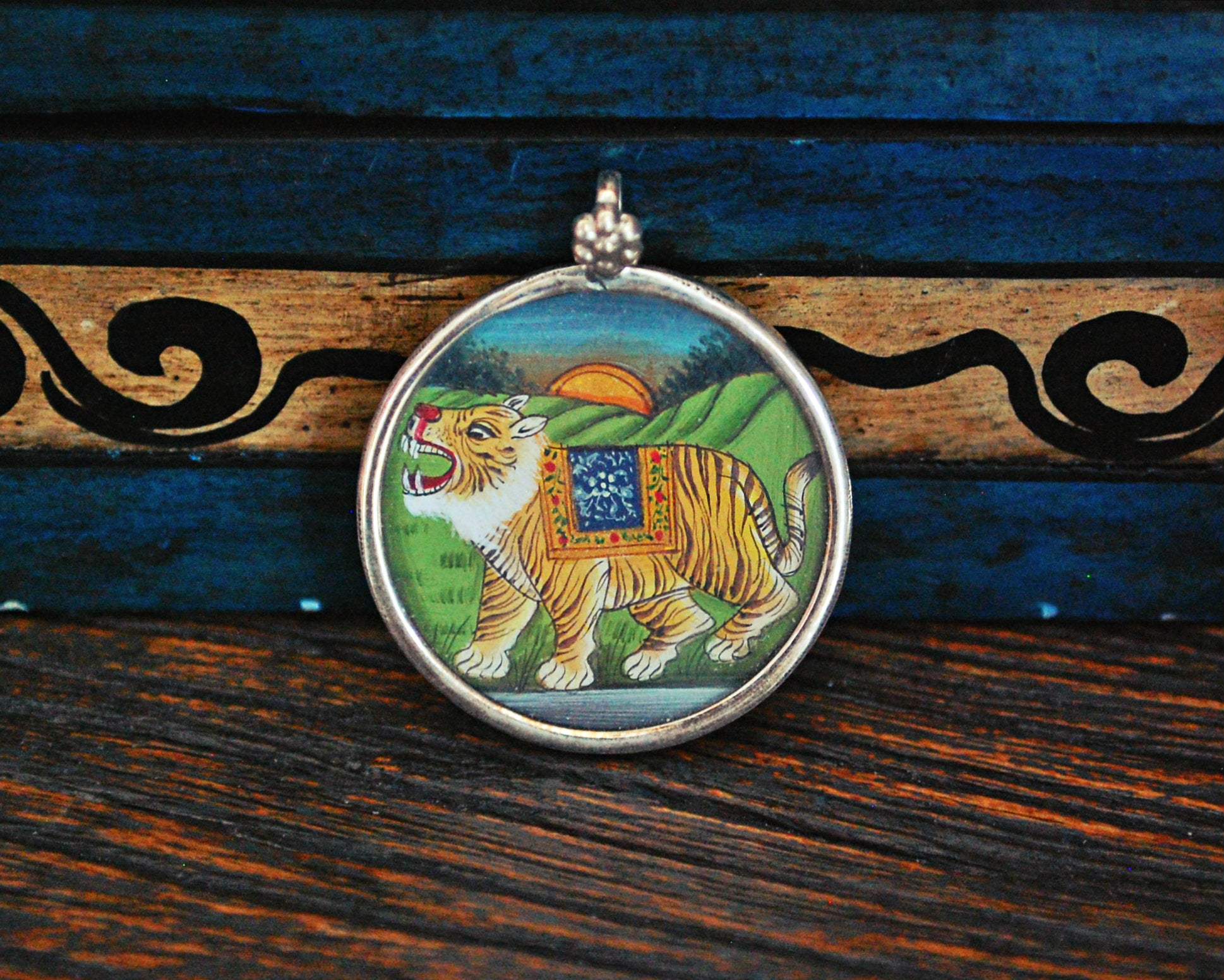 Indian Tiger Painting Pendant