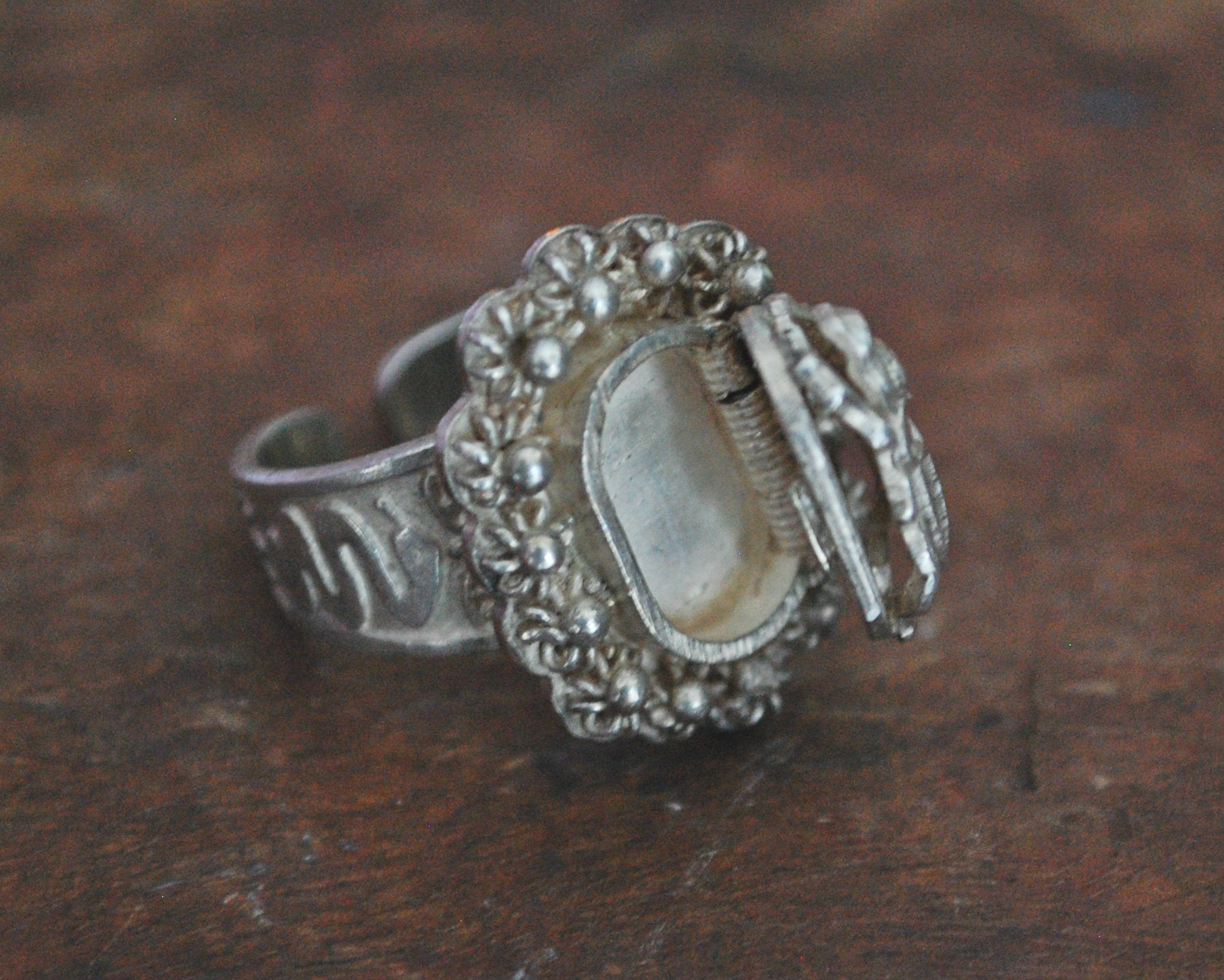 Egyptian Scarab Poison Ring - Size 9.5+/-