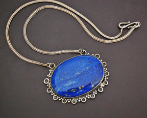 Lapis Lazuli Pendant on Sterling Silver Snake Chain