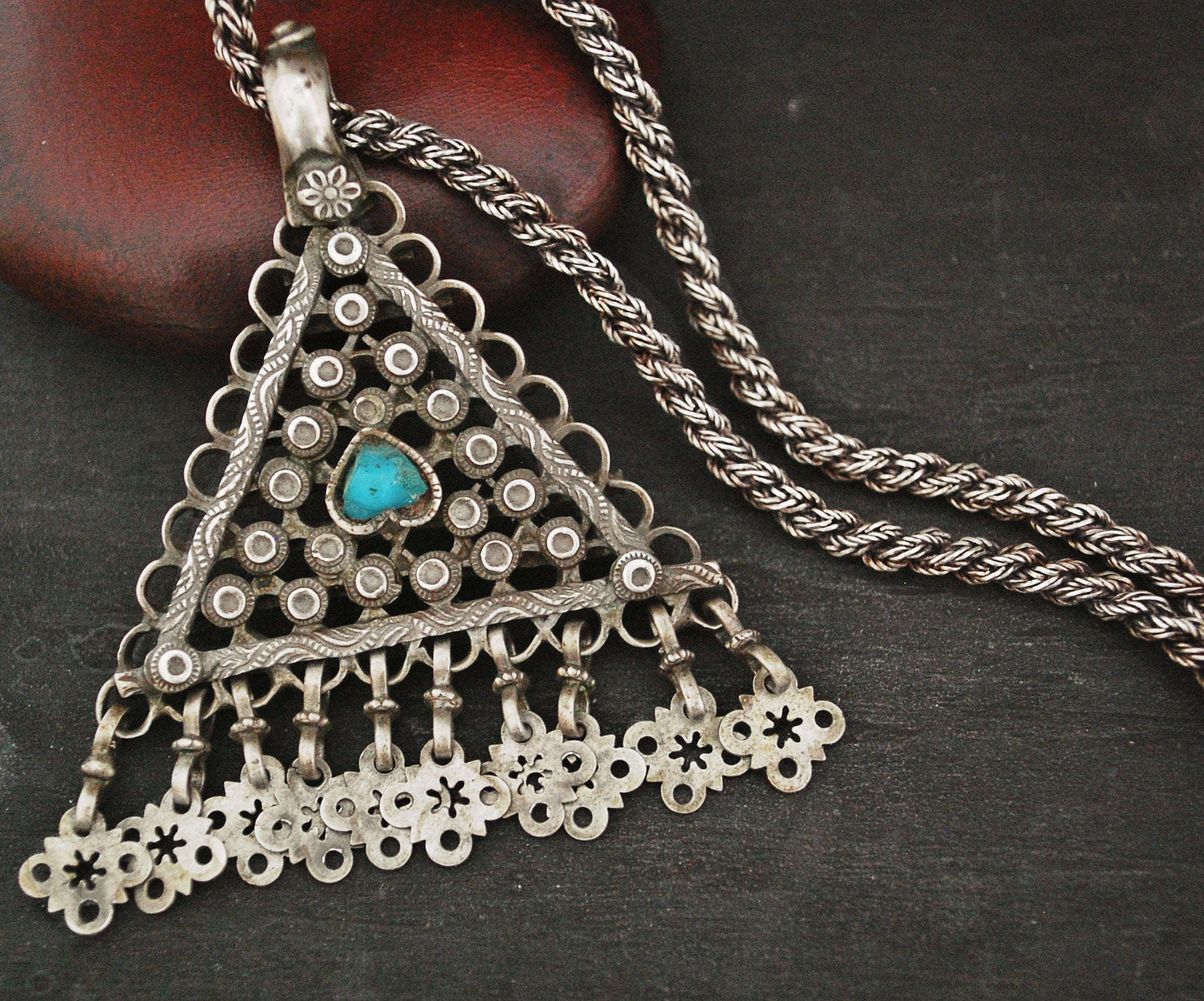 Antique Afghani Silver Turquoise Pendant on Woven Chain