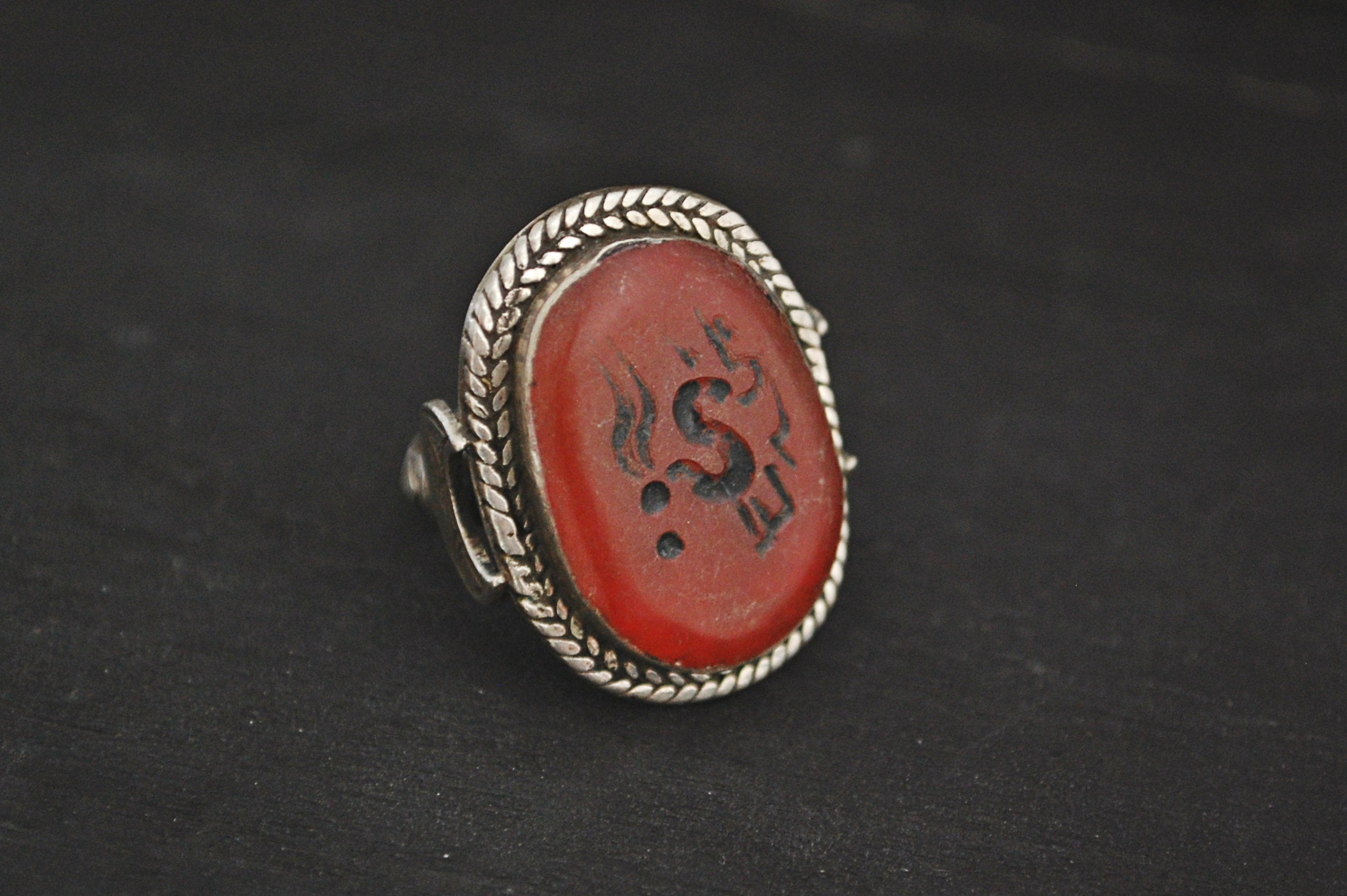 Afghani Carnelian Intaglio Ring with Crescent Moon - Size 7.5