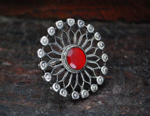 Huge Antique Afghani Silver Ring with Red Glass - Size 7.25