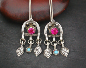 Afghani Earrings with Turquoise and Pink Glass