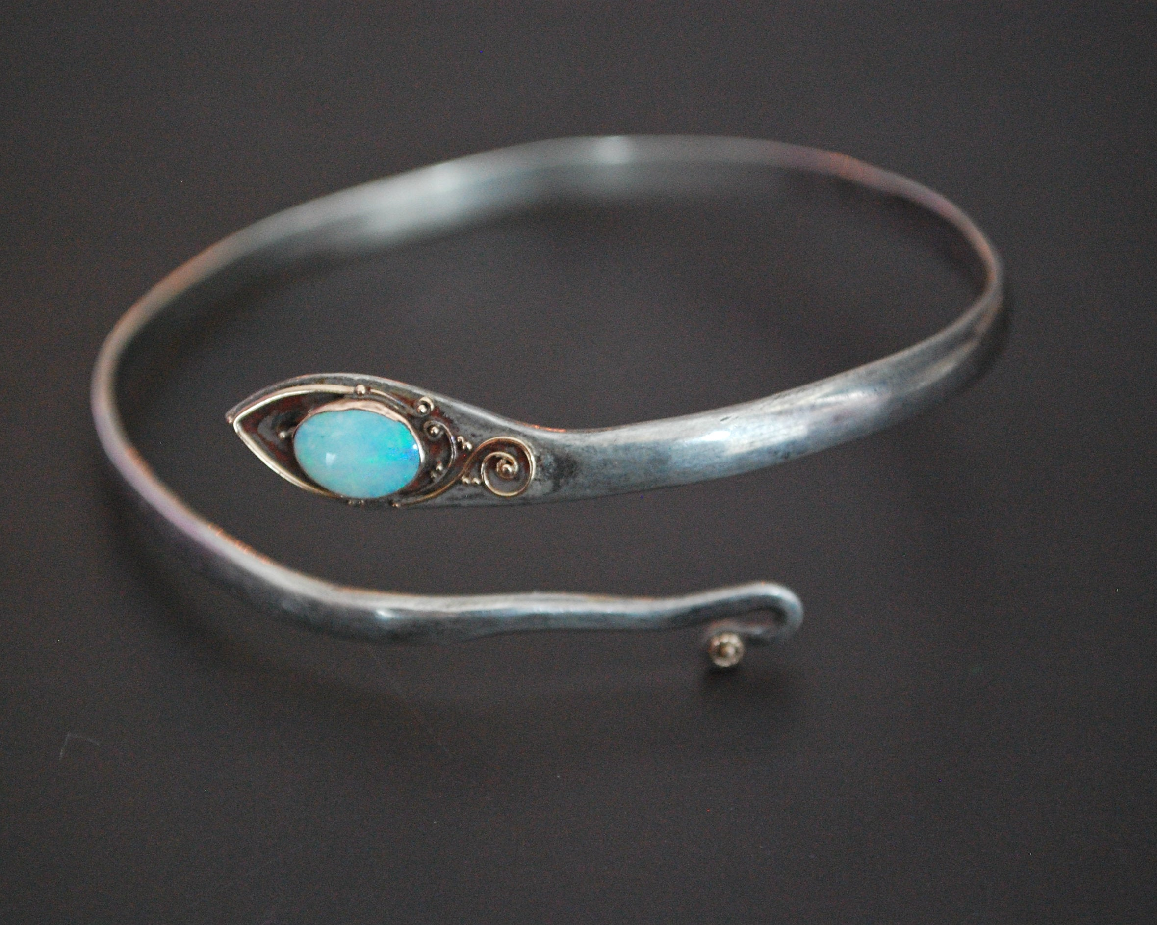 Snake Bracelet with Opal and Gilded Accents