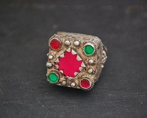Pashtun Silver Ring with Red Glass - Size 9