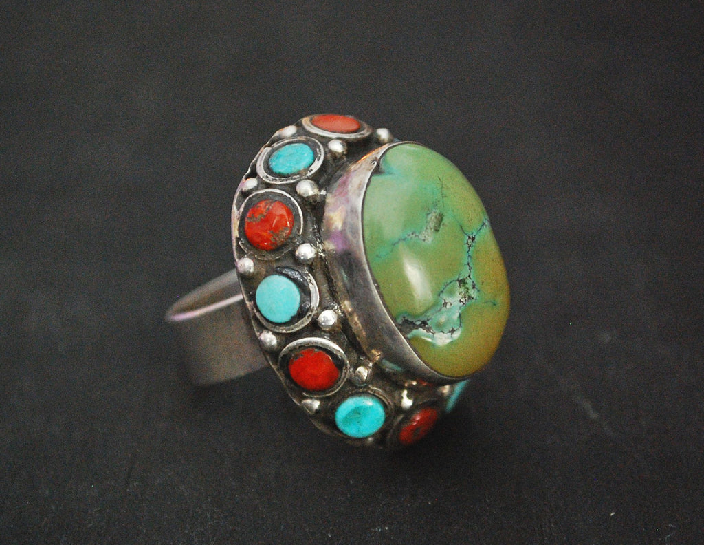 Ethnic Turquoise and Coral Ring from India - Size 8