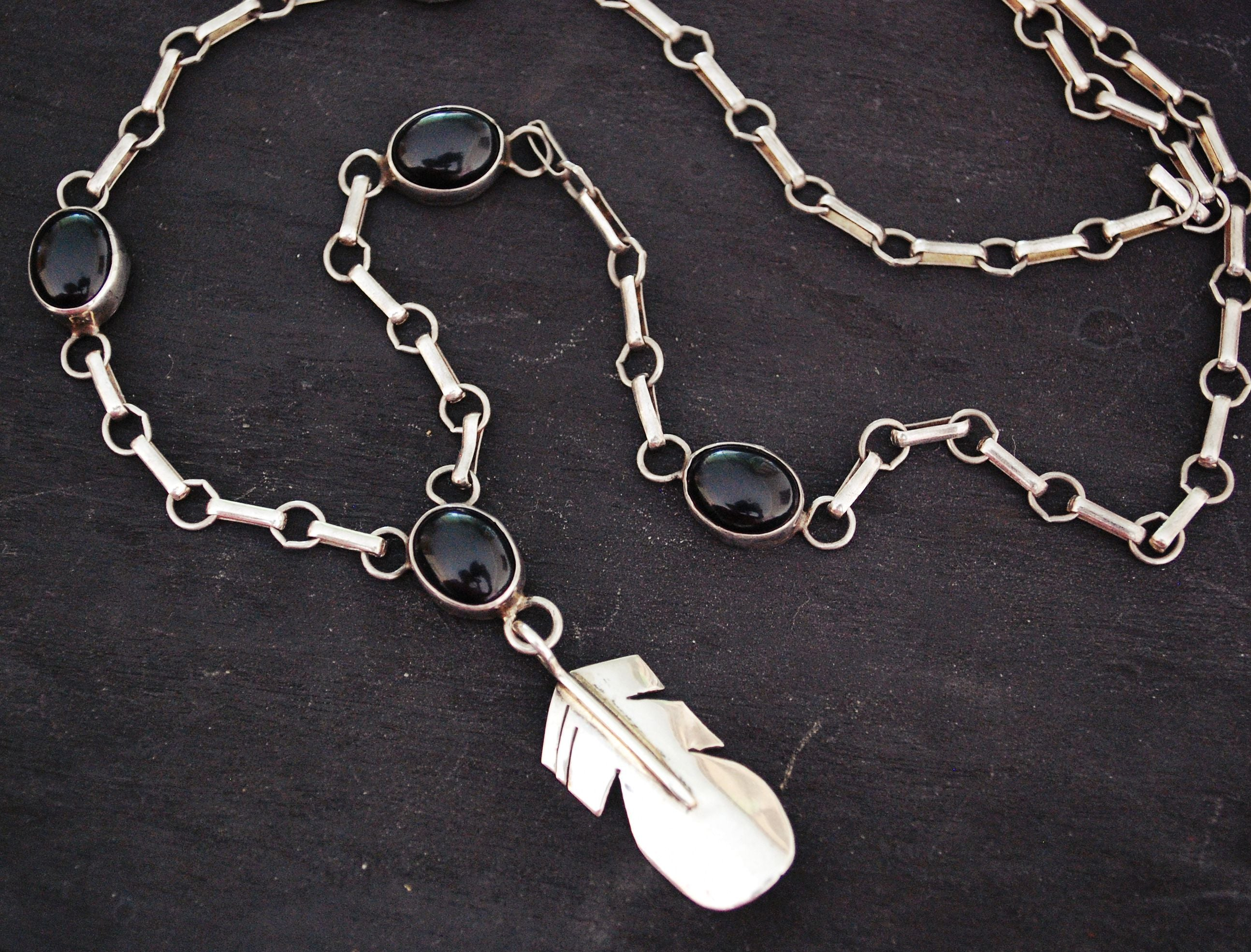 Native American Onyx Feather Necklace