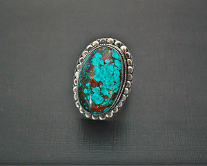 Bold Turquoise Ring from India - Size 6.75 / 7