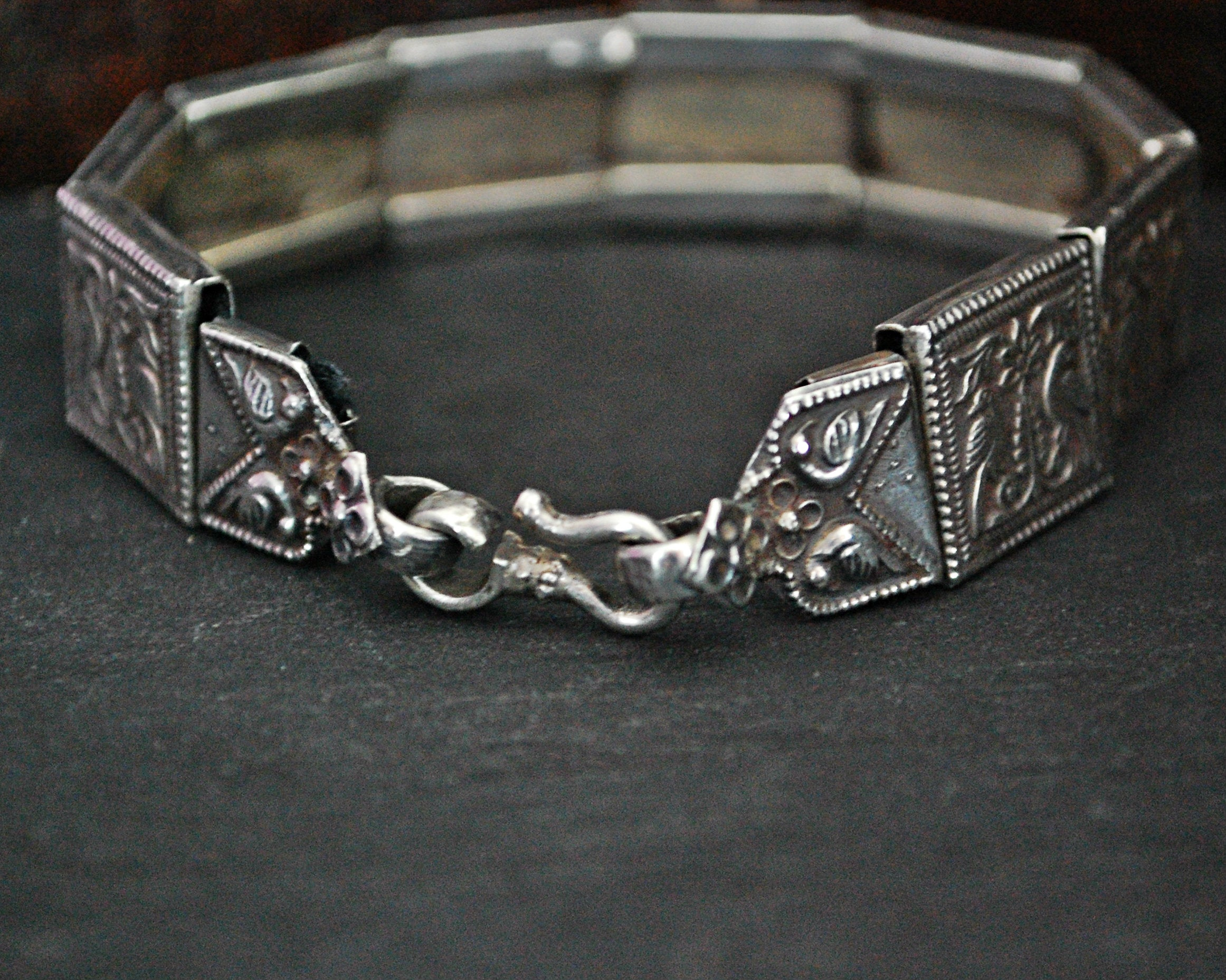 Rajasthani Silver Bracelet with Peacocks