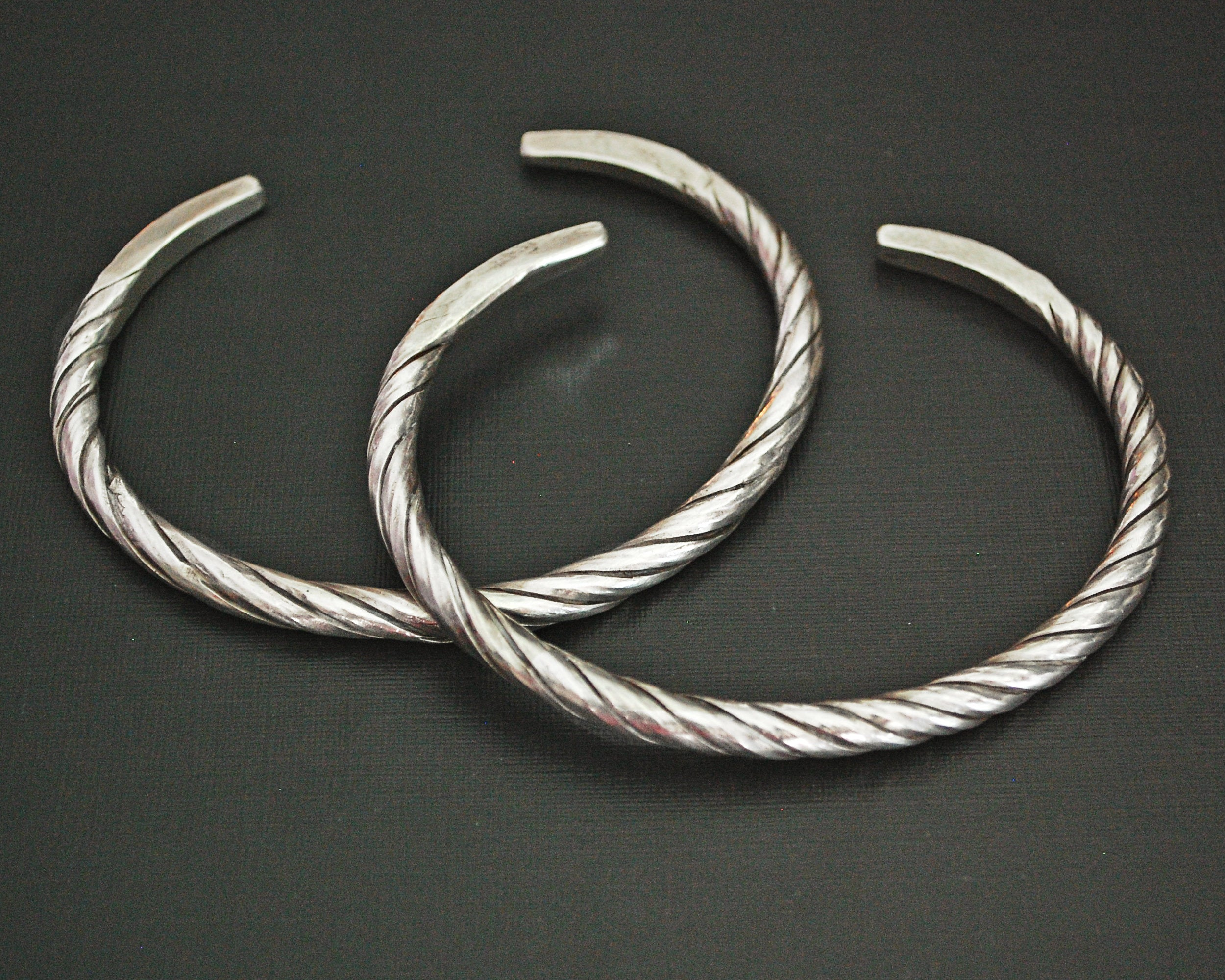 Akha Twisted Silver Bracelet from Laos - Pair