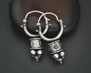 Uzbek Silver Hoop Earrings with Decorations