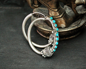 Ethnic Hoop Earrings with Turquoise
