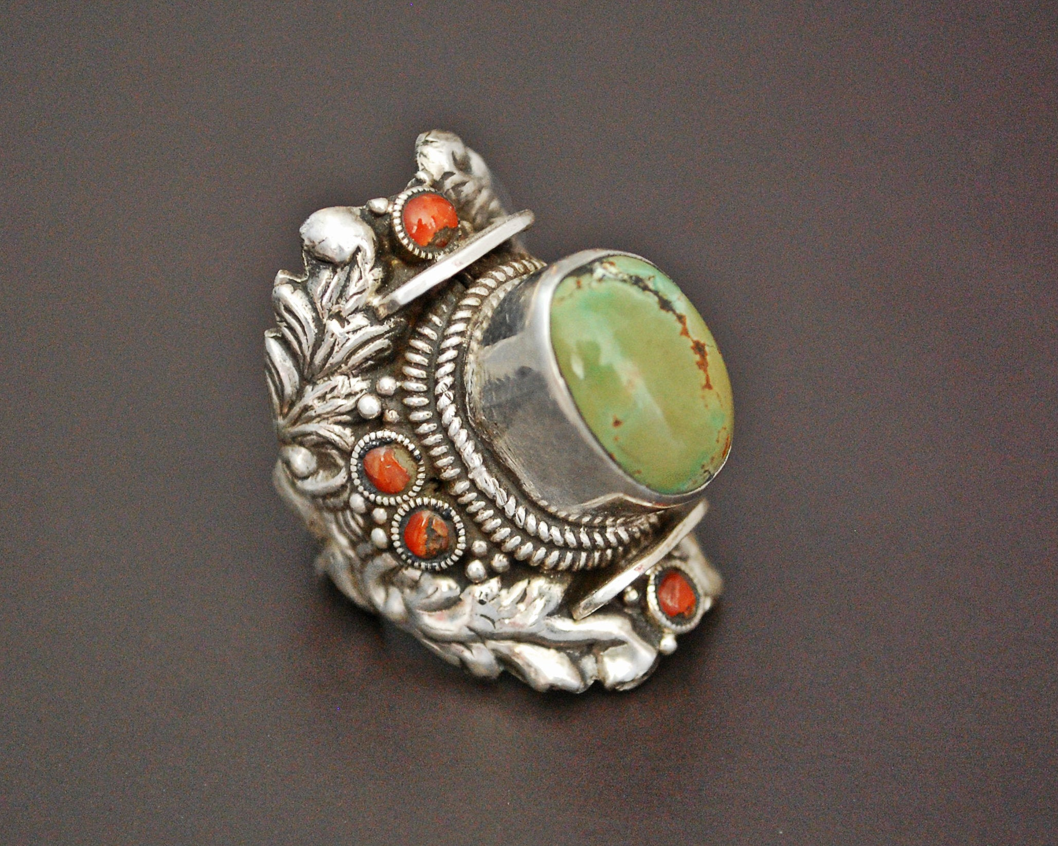 Gorgeous Nepali Turquoise Saddle Ring - Size 8.25