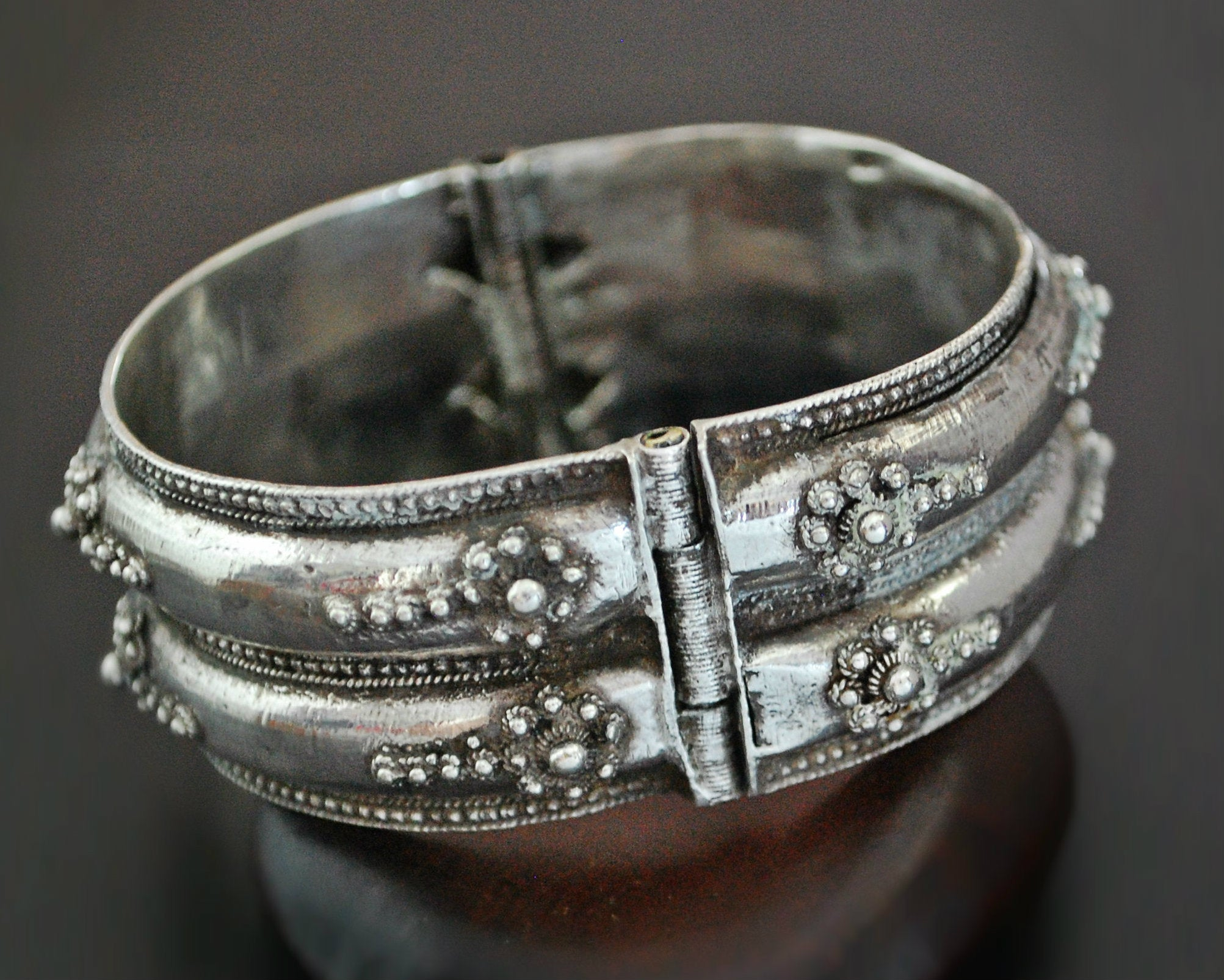 Ethnic Wide Hinged Bracelet