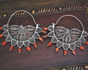 Uzbek Coral Turquoise Filigree Hoop Earrings