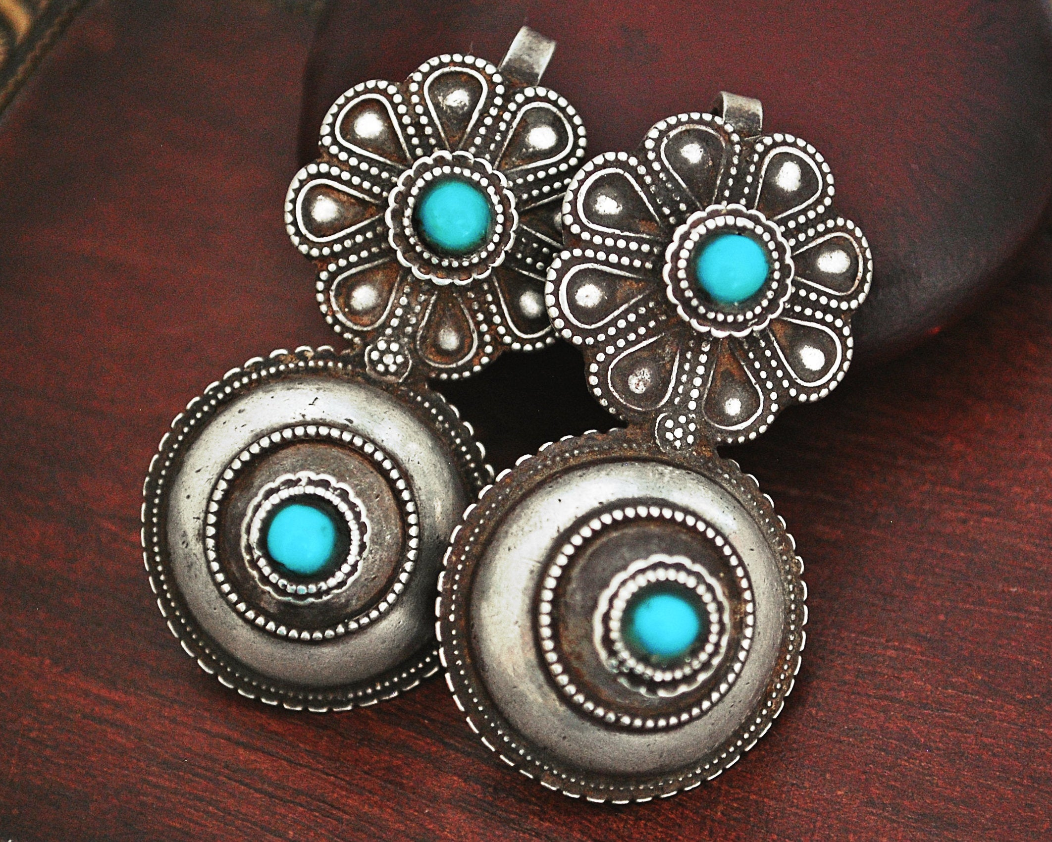 Old Rajasthani Tribal Earrings with Turquoise