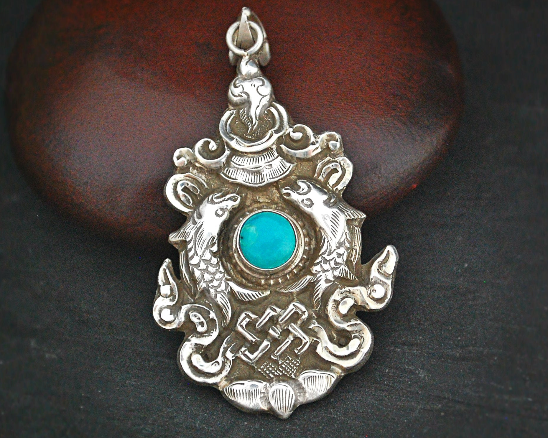 Nepali Turquoise Pendant with Fish, Conch Shell and Infinite Knot