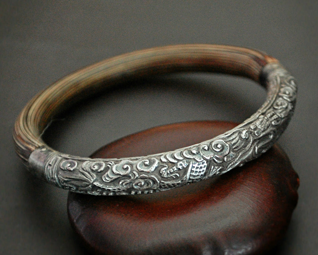 Antique Chinese Silver Bamboo Dragon Bracelet