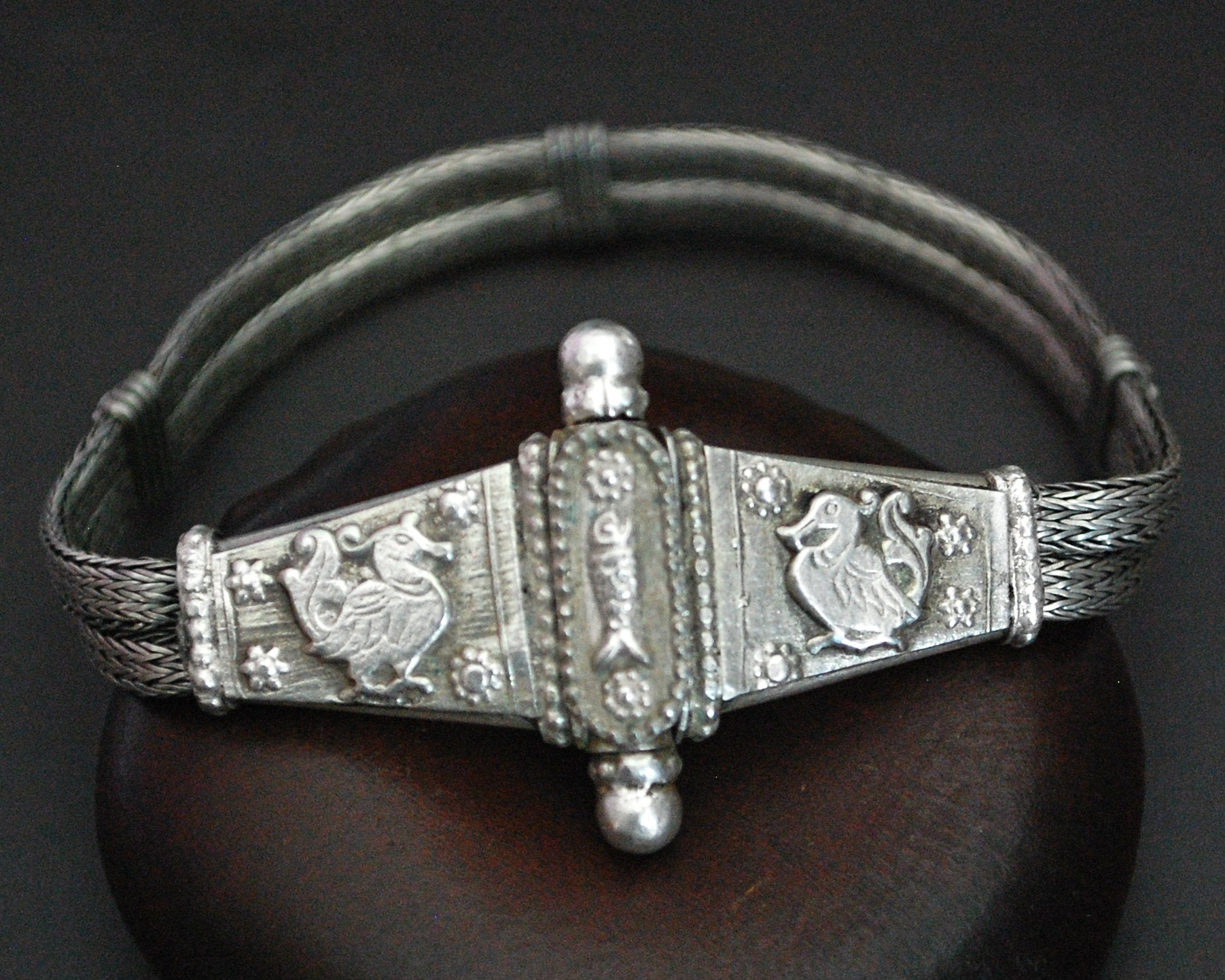 Rajasthani Snake Chain Bracelet with Fish and Peacocks