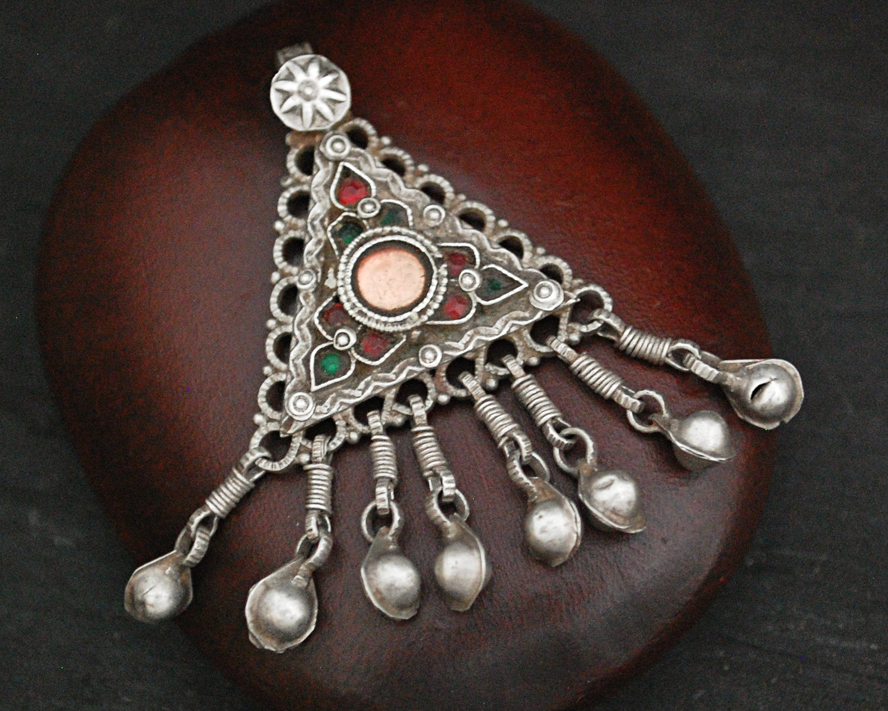 Antique Afghani Silver Pendant with Bell Tassels
