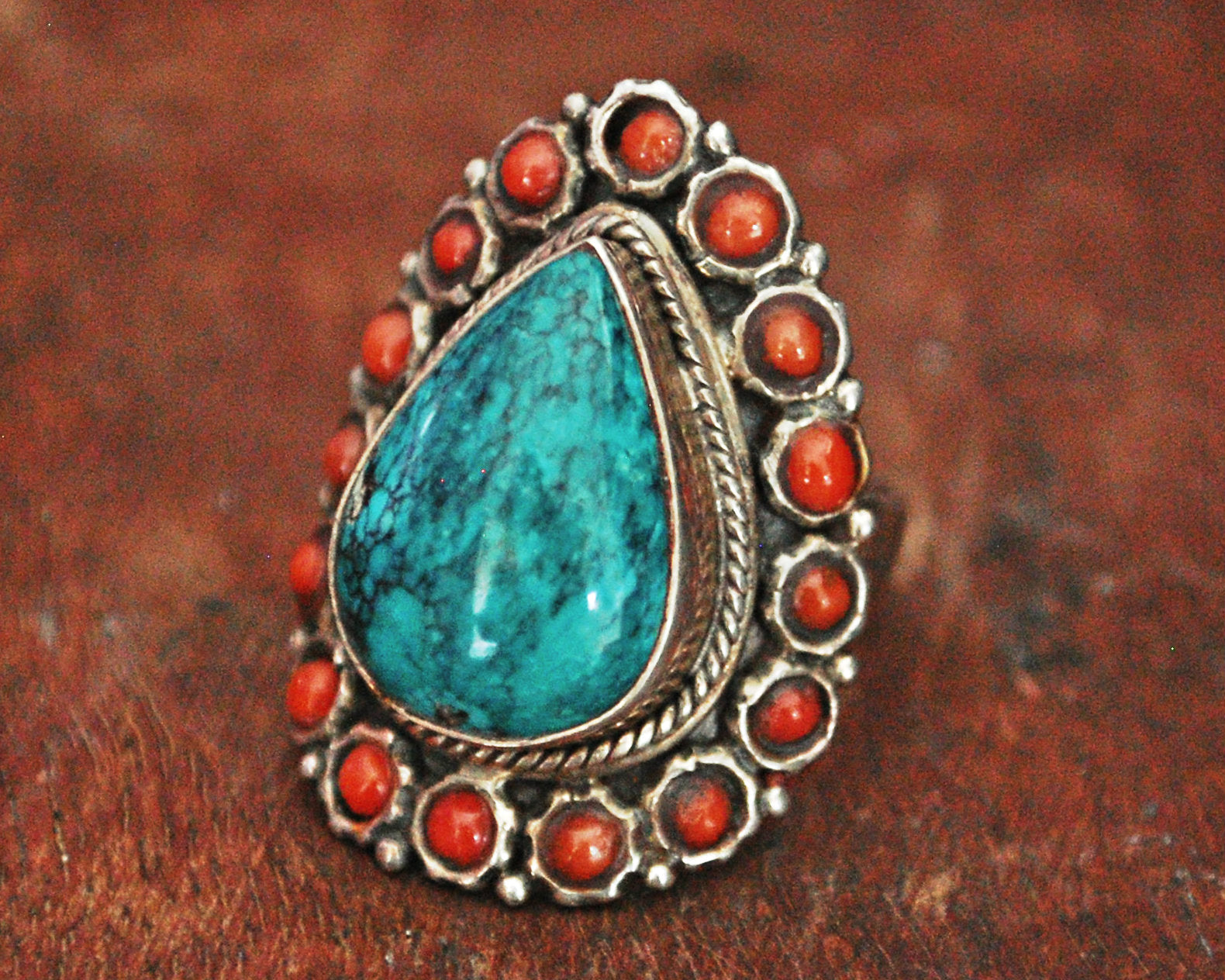 Ethnic Turquoise and Coral Ring from India