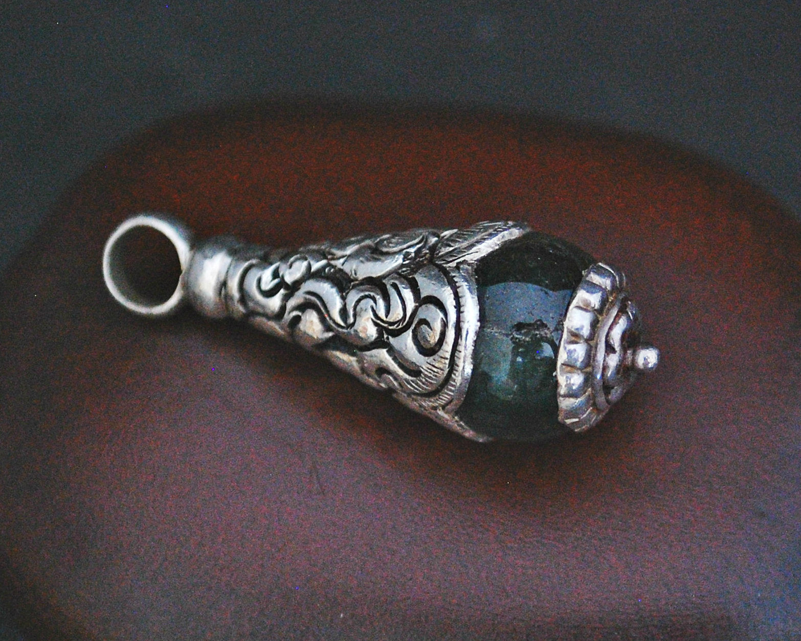 Nepali Jade Pendant with Repoussee