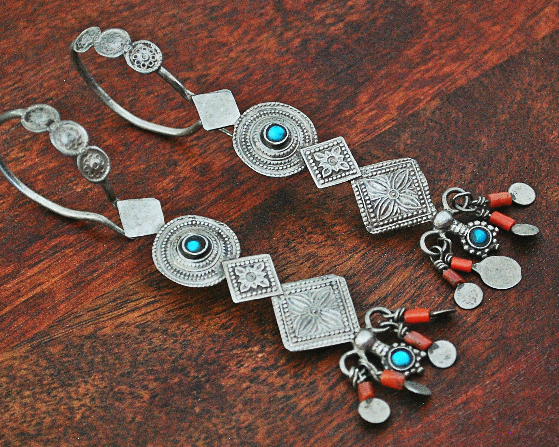 Antique Afghani Earrings with Coral and Turquoise