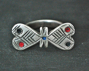 Saharan Tuareg Silver Ring with Enamel - Size 6.5