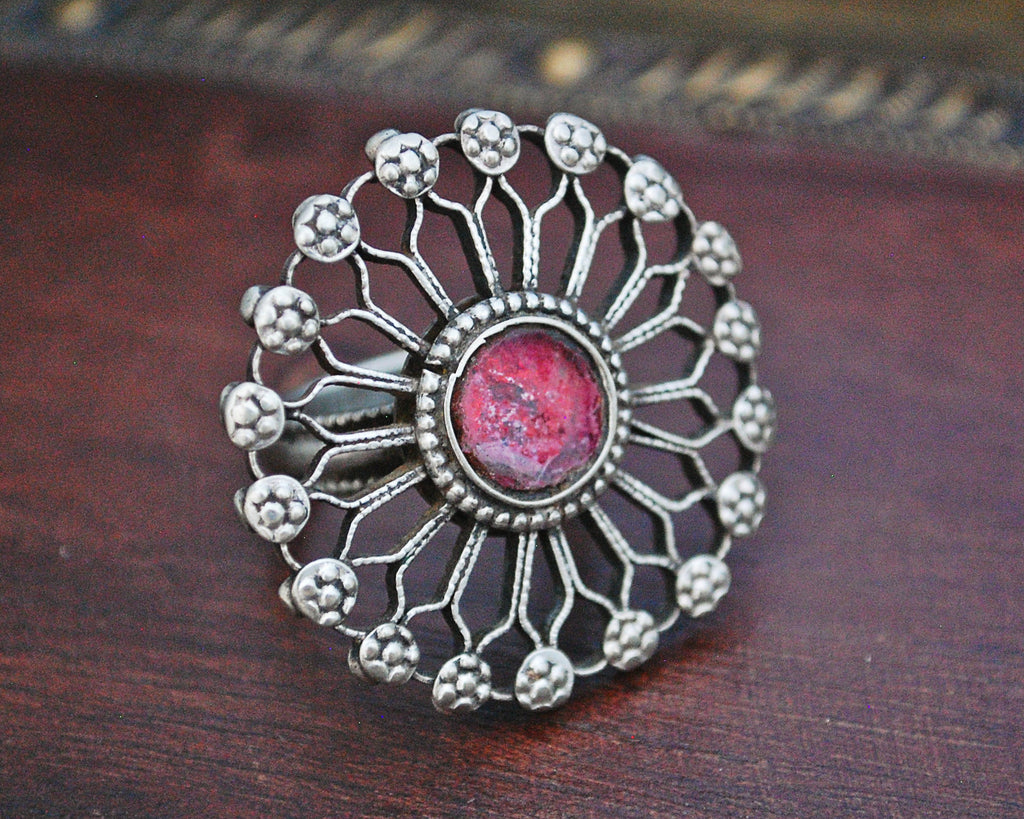 Pashtun Ring with Red Glass - Size 8.5