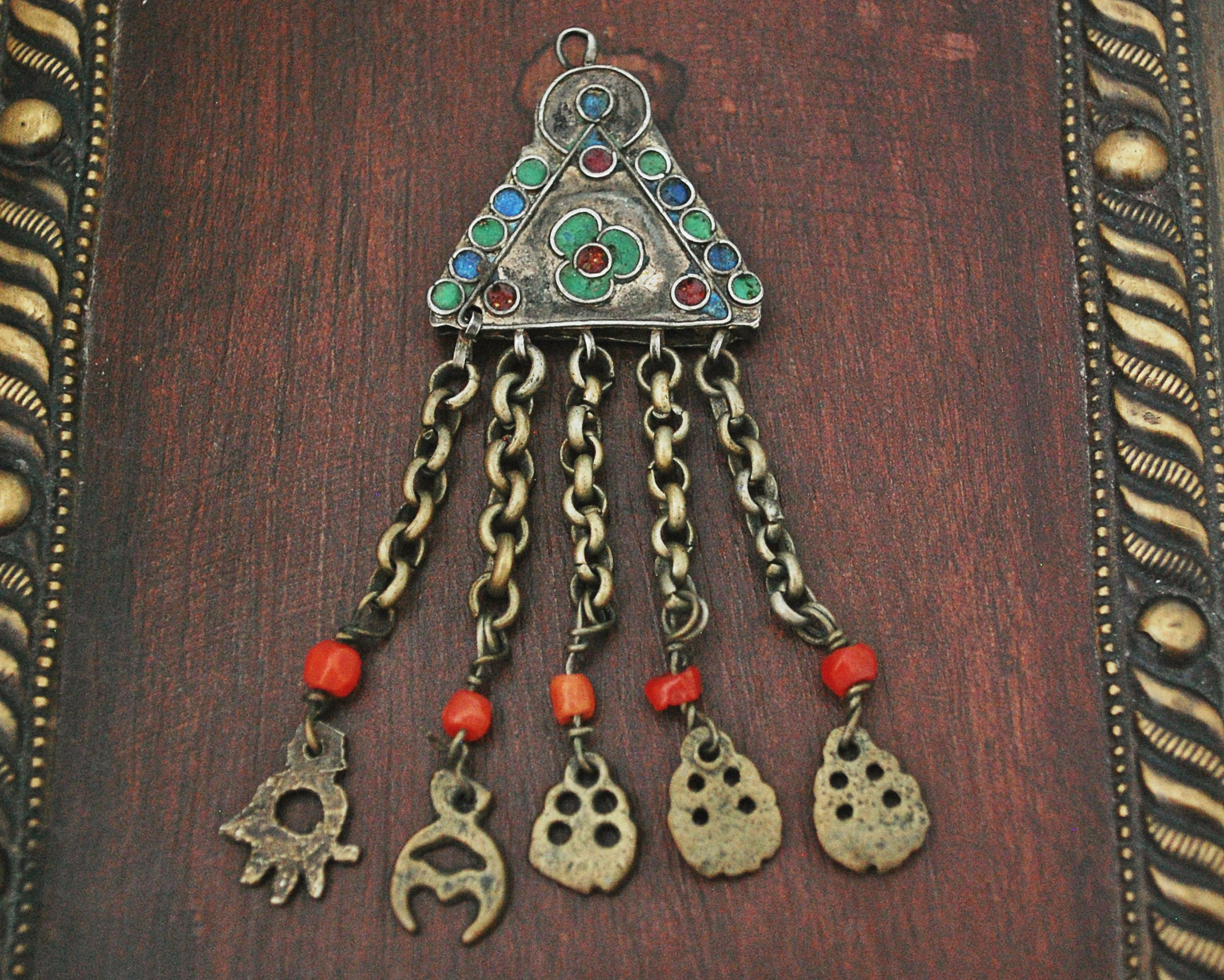 Antique Tunisian Gilded Pendant with Enamel