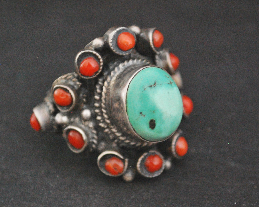 Nepali Turquoise Coral Ring - Size 6.75