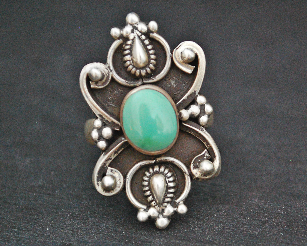 Ethnic Turquoise Ring from India - Size 6.5