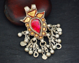 Tribal Rajasthani Glass Pendant with Bell Tassels
